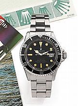 ROLEX SUBMARINER ROUGE réf: 1680 vers 1974 Rare belle montre bracelet de plongée en acier. Boîtier rond. Couronne et fond vissés...
