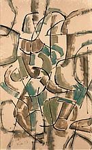 Ladislas KIJNO (1921 - 2012) SANS TITRE - 1957 Technique mixte sur carton