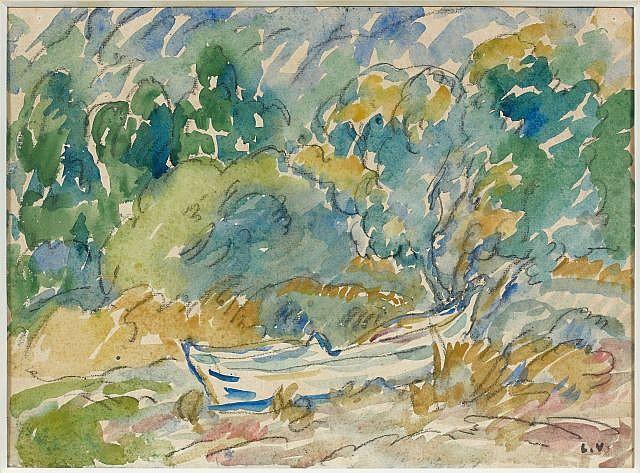 Louis VALTAT (Dieppe, 1869 - Paris, 1952) BARQUE Aquarelle sur papier