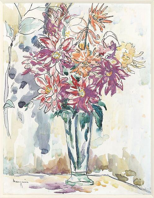 Henri Charles MANGUIN (Paris, 1874- Saint-Tropez, 1949) DAHLIAS,1915 Aquarelle sur papier