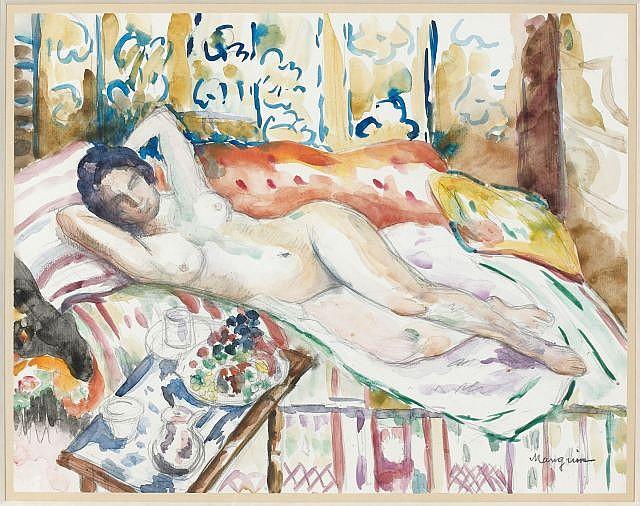 Henri Charles MANGUIN (Paris, 1874- Saint-Tropez, 1949) GRAND NU SUR LE DIVAN, A L'OUSTALET Aquarelle sur papier