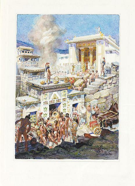 Frank KUPKA (Opocno, 1871-Puteaux, 1957) L'ACROPOLE D'ARGOS, ILLUSTRATION POUR LES ERRINYES DE LECONTE DE LISLE, circa 1906-1908 Aqu.