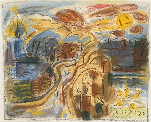 André MASSON (Balagny-sur-Thérain,1896- Paris,1987) LE PONT (DE BLOIS), 1946 Pastel sur papier