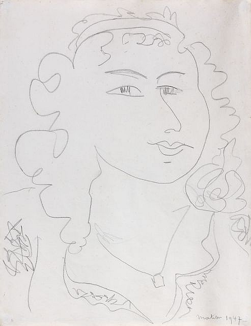 Henri MATISSE (Cateau-Cambrésis, 1869- Nice, 1954) PORTRAIT DE FEMME, 1947 Dessin au crayon sur papier