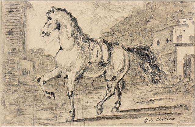 Giorgio DE CHIRICO (Volos, 1888- Rome, 1978) CAVALLO IN UN PAESE, 1959 Encre, lavis d'encre et crayon sur carton