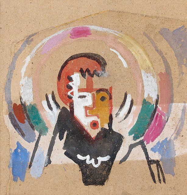 Albert GLEIZES (Paris, 1881- Avignon, 1953) TÊTE D'ENFANTS, 1936 Gouache sur papier de verre découpé