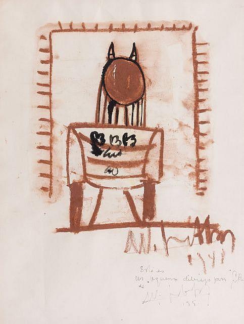 Wifredo LAM (Sagua la Grande,1902- Paris, 1982) COMPOSITION, 1947-1948 Dessin double face au pastel et encre de Chine, lavis d'encre..