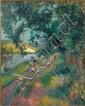 Robert-Antoine PINCHON (Rouen,1886- Bois-Guillaume,1943) PROMENADE SUR LE CHEMIN DE HALAGE Huile sur toile