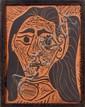 Pablo PICASSO (Malaga, 1881 - Mougins, 1973) FEMME AUX CHEVEUX FLOUS, 1964 (A.R. # 520, B. # 166, R. # 634) Plaque rectangulaire