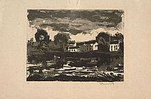 Maurice de VLAMINCK (Paris, 1876 - Rueil-la-Gadelièr) L'OISE A SERGY - 1er état, 1924