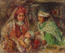 Edouard VERSCHAFFELT 1874-1955 LA VEILLÉE Huile sur toile