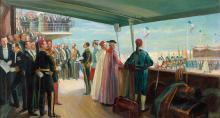 José BELON 1861-1927 L'INAUGURATION DU PORT DE SFAX LE 25 AVRIL 1897 Huile sur toile