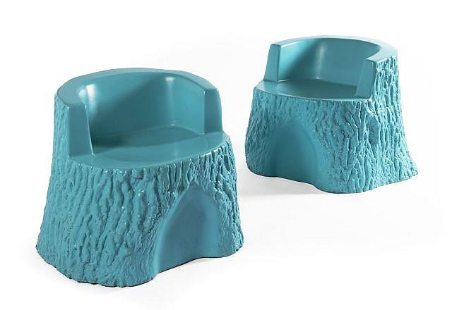 Franz WEST (Né en 1947) STUHL HAINI, 2003 Lot de deux fauteuils en fibre de verre et plastique