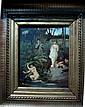 Ecole du XIXe Femmes surprises au bain Huile sur panneau portant une signature CAILLE SCALAERT (?) 27 x 21,5 cm.