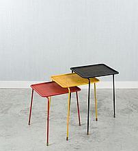 Mathieu MATEGOT (1910 - 2001) Suite de trois tables gigognes