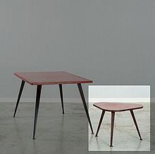 Jean PROUVE (1901 - 1984) Table basse - commande spéciale - circa 1950 Piètement en tôle d'acier pliée et laquée