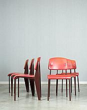 Jean PROUVE (1901 - 1984) Suite de six chaises mod. Métropole 306 dites