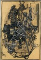 Jacques DOUCET (1924 - 1994) SANS TITRE, 1965 Encre de chine , lavis et réhauts de gouache blanche et pastel sur papier peint
