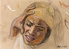 Etienne DINET (1861-1929) ETUDE D'UN VISAGE DE JEUNE FILLE Aquarelle et gouache sur papier beige