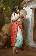 Hyppolite LAZERGES (1817 - 1887) JEUNE ALGÉRIENNE AU TAMBOURIN (TAR) Huile sur panneau