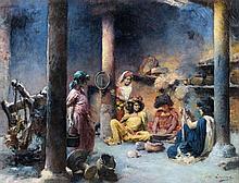 Marie Aimée LUCAS-ROBIQUET (1858 - 1959) JEUNES ALGÉRIENNES PRÉPARANT LE COUSCOUS Huile sur toile