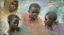 Lucien LEVY-DHURMER (1865 - 1953) JEUNE GARCON GNAOUA Pastel sur papier