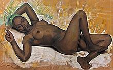 Jacques MAJORELLE (1886 - 1962) NU ALLONGE Gouache et pastel sur papier marouflé