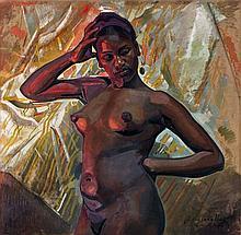 Jacques MAJORELLE (1886 - 1962) JEUNE FEMME Huile sur toile, rehauts de gouache