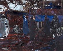 Jacques MAJORELLE (1886 - 1962) LE SOUK AUX TAPIS, MARRAKECH