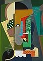 Auguste HERBIN (1882-1960) COMPOSITION, 1918 Huile sur toile signée et datée