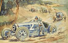 Géo HAM (Georges HAMEL) (1900-1972)  Louis Chiron au Grand Prix d'Antibes 1928