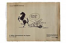 Albert UDERZO (Né en 1927)  Astérix conduisant un char Ferrari