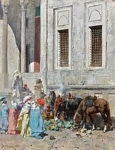 Alberto PASINI (Busseto, 1826 - Caporetto, 1899) Devant les marches de la mosquée - 1872
