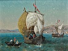 Germain Fabius BREST (Marseille, 1823 - Marseille, 1900) Caïques sur le Bosphore