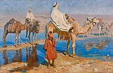 Adam STYKA (Pologne, 1890 - Doyleston,1959) Traversée d'un Oued au Maroc