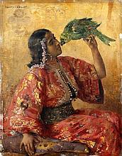 Frantz CHARLET (Bruxelles, 1862 - Paris, 1928) Jeune marocaine au perroquet