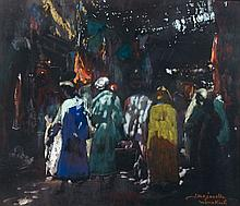 Jacques MAJORELLE (Nancy, 1886 - Paris, 1962) Souk à Marrakech