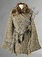 Georges RECH Maille, ANONYME LOT comprenant un CARDIGAN 3/4 en gros tricot de laine et alpaga chiné blanc, beige et grège bordé de...