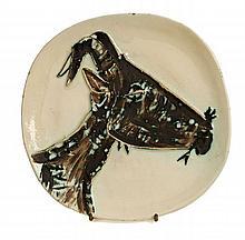 Pablo PICASSO (1881 - 1973) TETE DE CHEVRE DE PROFIL (A.R. # 110 - G.B. # 17 Va ) Assiette ronde/carrée