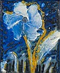 Thanos TSINGOS (1914-1965) FLEUR BLANCHE SUR FOND BLEU, 1959 Huile sur toile
