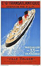Sandy HOOK (Georges Taboureau-1879-1960), peintre officiel de la Marine  Compagnie Générale Transatlantique - Paris Alger en 33 heur...