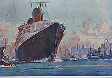 MARIN-MARIE (1901-1987), peintre officiel de la Marine  Le Normandie sur l'Hudson