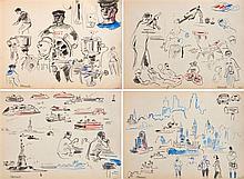 Albert BRENET (1903-2005), peintre officiel de la Marine  Rare carnet de voyage, traversée vers New-York, circa 1950