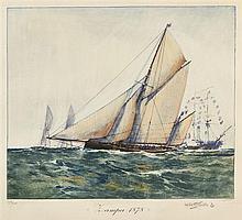 Albert SEBILLE (1874-1953), peintre officiel de la Marine  Zampa 1878