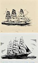 Roger CHAPELET (1903-1995), peintre officiel de la Marine  Trois-mâts et quatre-mâts