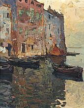 Louis BONAMICI (1878-1966)  Bateaux de pêcheurs à Saint Tropez