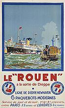 Bernard LACHEVRE (1885-1950), peintre officiel de la Marine  Le Rouen à la sortie de Dieppe