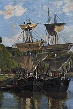 Gaston ROULLET (1847-1925) peintre officiel de la Marine  Deux voiliers dans un port