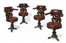 COMPAGNIE STARLINE  Suite de quatre fauteuils, XXème siècle