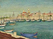 Marcel LENFANT  Vue du Port d'Antibes
